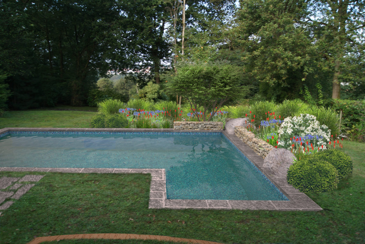 Cr ation am nagement de jardin et abords piscine bassussary - Amenagement tour de piscine ...